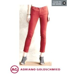 AG Adriano Goldschmied Stevie Ankle (Red, Size 27)